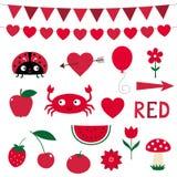 Designelements στο κόκκινο χρώμα Στοκ εικόνα με δικαίωμα ελεύθερης χρήσης