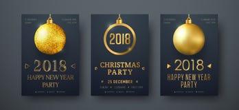 Designen av vektorsvartaffischer med guld- jul klumpa ihop sig Arkivbild
