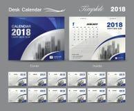 Designen 2018, blått för mallen för skrivbordkalendern täcker orienteringen royaltyfri illustrationer