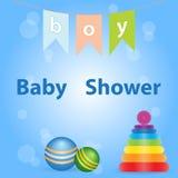 Designen för baby showerinbjudankortet med leksakbollen som staplar ringer royaltyfri illustrationer