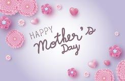 Designen för banret för moderdagen av rosa färger blommar med hjärta stock illustrationer