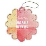 Designen för den Sale etikettadvertizingen med rosa färger gulnar vattenfärgsommar Royaltyfri Fotografi