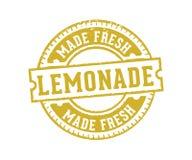 Designen för den vektoretikettetiketten och stämpeln för lemonad dricker drycken och citronjuice stock illustrationer