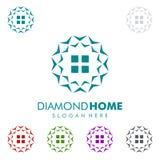Designen för fastighetvektorlogoen med diamanten och hemmet formar Royaltyfri Fotografi