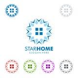 Designen för fastighetvektorlogoen med stjärnan och hemmet formar Arkivfoton