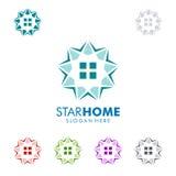 Designen för fastighetvektorlogoen med stjärnan och hemmet formar Royaltyfria Foton