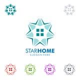 Designen för fastighetvektorlogoen med stjärnan och hemmet formar Arkivbilder