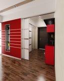 Designen för Hall framför den moderna stilinre, 3D Royaltyfria Bilder
