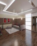 Designen för Hall framför den moderna stilinre, 3D Arkivbild