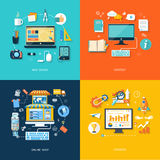 Designen för internetshoppingrengöringsduken främjar innehållet stock illustrationer