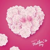 Designen för kortet för moderdagen av hjärtaform blommar royaltyfri illustrationer