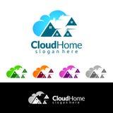 Designen för logoen för den molnhem-, Real Estate vektorn med huset och molnet formar, den föreställt internet, data eller vara v vektor illustrationer