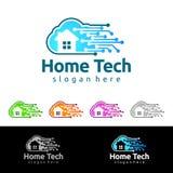 Designen för logoen för den molnhem-, Real Estate vektorn med huset och molnet formar, den föreställt internet, data eller vara v royaltyfri illustrationer