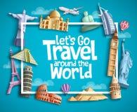 Designen för lopp- och turismvektorbanret med boarderen inramar, lopptext och berömda turist- destinationsbeståndsdelar för gräns royaltyfri illustrationer
