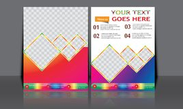 Designen för mallen för reklambladet för broschyren för vektorårsrapportbroschyren, bokomslagorienteringsdesign, abstrakta mallar Royaltyfria Bilder