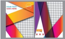 Designen för mallen för reklambladet för broschyren för vektorårsrapportbroschyren, bokomslagorienteringsdesign, abstrakta mallar Arkivbilder