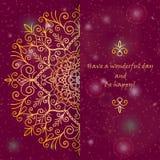 Designen för mallhälsningkortet dekorerade med den skinande guld- modellen i orientalisk stil Royaltyfria Foton