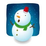 Designen för snögubbeillustrationteckenet är att upphetsa med fallande snö, den röda hatthinken, morotnäsan och den gröna halsduk vektor illustrationer