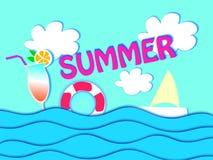 Designen för sommarförsäljningsbanret med papper klippte tropisk bakgrund för den bästa sikten för stranden också vektor för core royaltyfri illustrationer