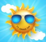 Designen för sommarsolvektorn med rolig leende- och sommartid smsar royaltyfri illustrationer