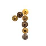 Designen för stil för prydnaden för steampunk för nummer ett för kuggekugghjulsiffran åldrades den mekaniska sjaskig texturerad f Royaltyfria Foton