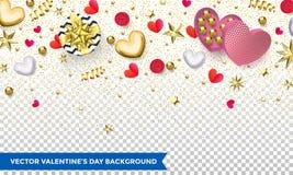Designen för valentindagbakgrund av hjärtor och guld blänker konfetti- eller blommamodellen för ferie Vektorvalentinaffisch av gl stock illustrationer