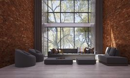 Designen för vardagsrumkorridor- och soffavardagsruminre och väggen för röd tegelsten mönstrar bakgrund och arbeta i trädgården s Royaltyfri Foto