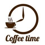 Designen för vektorn för kaffetidlogoen för kafé, shoppar eller lagrar Emblem med den bruna koppen, klockapilar och inskriften öv vektor illustrationer