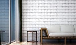 Designen för vindvardagsruminre och vittegelstenväggen mönstrar bakgrund Royaltyfri Bild
