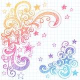 designen klottrar den sketchy stjärnavektorn för illustrationen Royaltyfri Bild