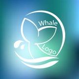 Designen med abstrakt symbol av valet och havet vinkar också vektor för coreldrawillustration Royaltyfri Foto