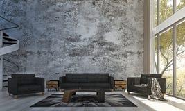 Designen och betongväggen för vardagsrumsoffa- och vardagsruminre mönstrar bakgrund Royaltyfri Bild