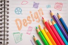 Designen skissar med färgrika blyertspennor Royaltyfria Bilder
