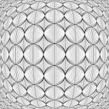 Designen snedvred monokromma cirkellinjer modell Arkivfoton