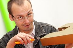 Designer. Produces three-dimensional letter. Working in an advertising studio Stock Image