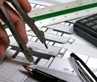 Designer. Architect working rawing a building royalty free stock photography