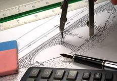 Designer. The architect drawing a bridge stock photo