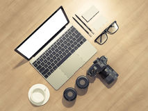 Designer accessories and gadgets on wood background Royalty Free Stock Images