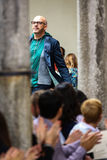 Designer Antonio Marras acknowledges the applause of the audience after I'M Isola Marras show Stock Photos
