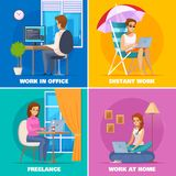 Designer Artist Concept Icons Set. With distant work symbols flat isolated vector illustration Royalty Free Stock Images
