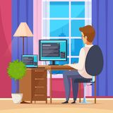 Designer Artist Illustration. Designer artist at home with computer chair and table flat vector illustration Stock Photography