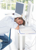 Designer asleep at his desk Royalty Free Stock Photography
