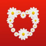 Designer background heart from the flowers of white color Royalty Free Stock Photo