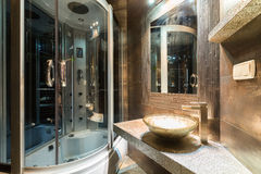 Designer bathroom in contemporary house Royalty Free Stock Photo