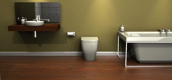 Designer bathroom suite. An illustration of a modern design bathroom suite royalty free illustration