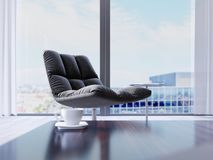 Designer black chair by the window in a modern interior. depth of field effect vector illustration