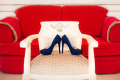 Designer blue high heels shoes. Designer dark blue high heels shoes Stock Photo