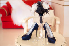 Designer blue high heels shoes Royalty Free Stock Photos