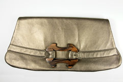 Designer bronze female leather handbag Royalty Free Stock Image
