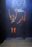 Designer Cassandra Kellogg (L) walks runway at the Minimale Animale fashion show during MBFW Swim 2015 Royalty Free Stock Images